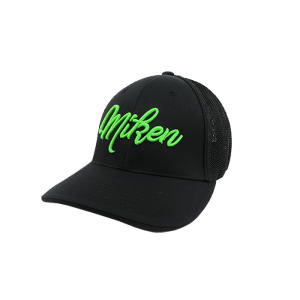 Miken Hat by Pacific (404M) All Black/Neon Green Script